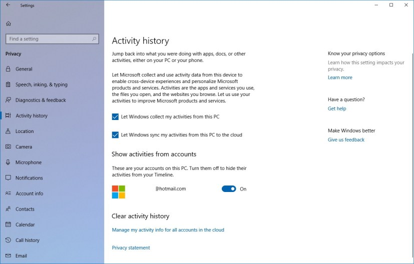 Activity history settings
