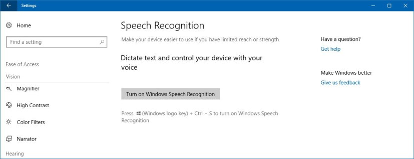 Speech Recognition settings on Windows 10