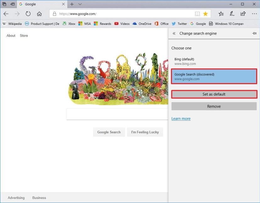 Set Google default search engine Microsoft Edge