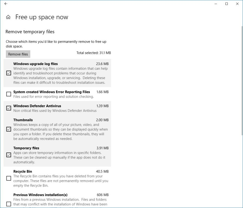 Free up space now settings page