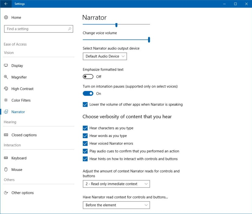 Narrator settings on Windows 10 version 1803