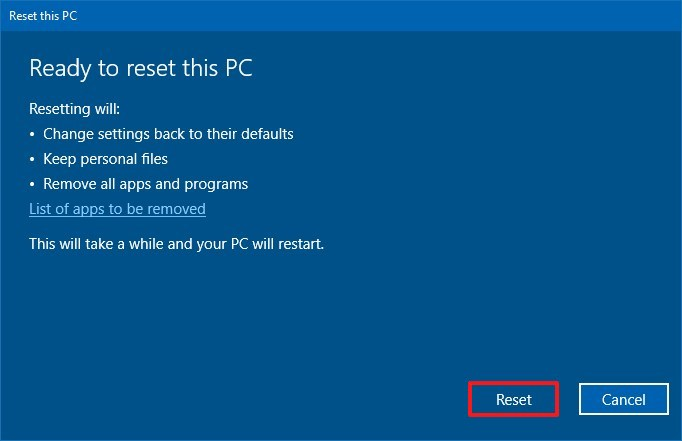 Windows 10 Reset this PC keeping files