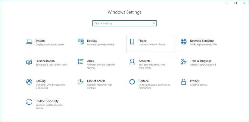 Settings app on Windows 10 version 1803