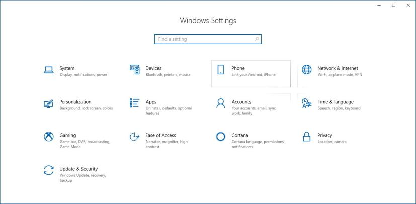Settings app on Windows 10 version 1803
