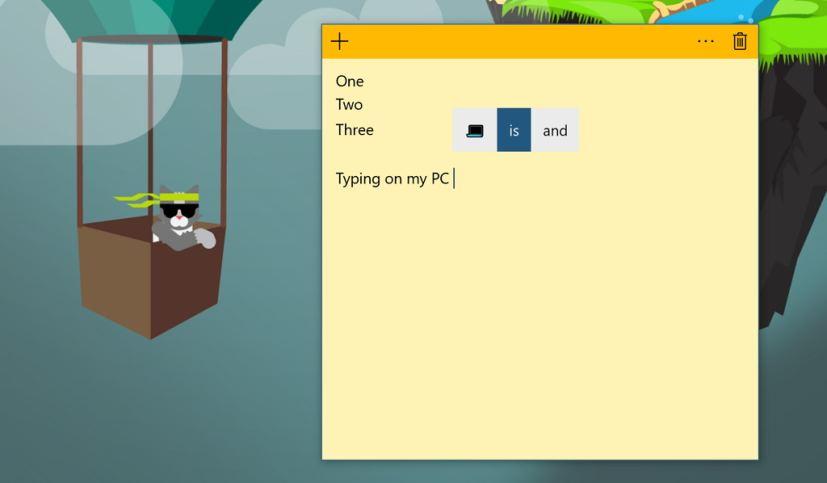 Windows 10 hardware keyboard text suggestions