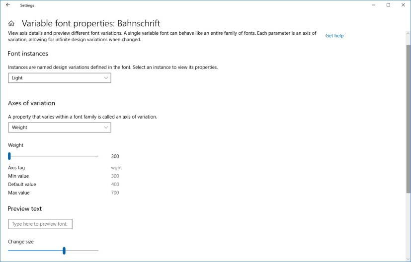 Variable font properties