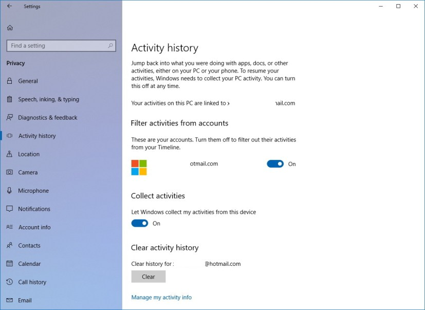 Activity History (Timeline) settings on Windows 10