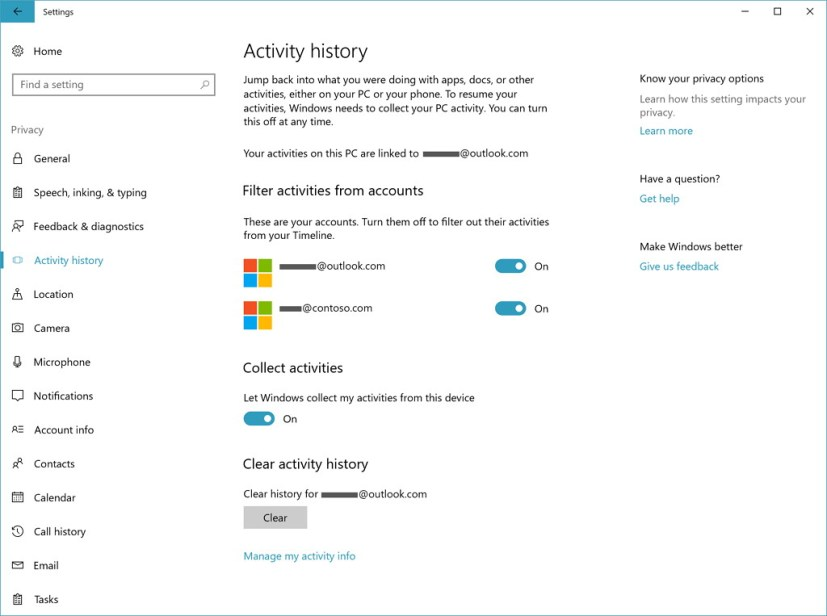 Activity history page in Windows 10 build 17063