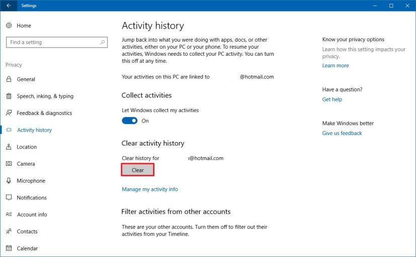 Activity history settings on Windows 10