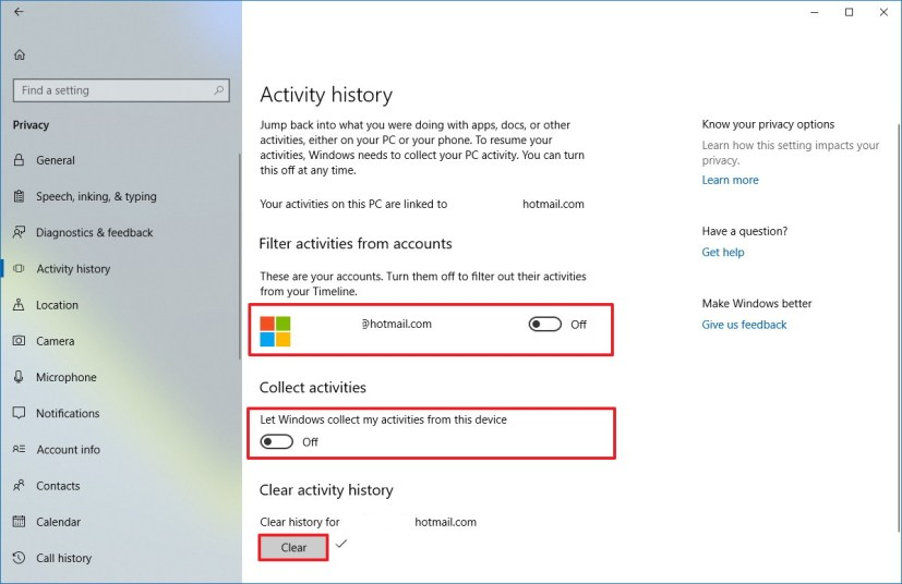 Disable Timeline using Activity history settings