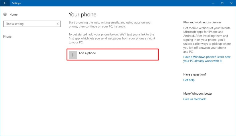 Phone settings on Windows 10