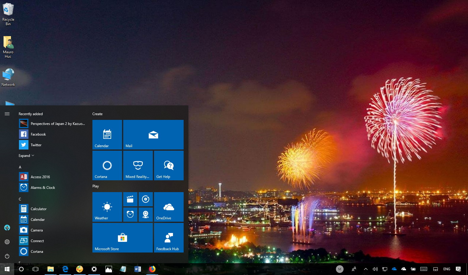 Windows 10 desktop with fireworks wallpaper