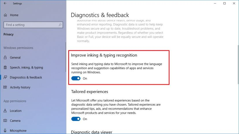 Improve inking & typing recognition settings on Windows 10 version 1803