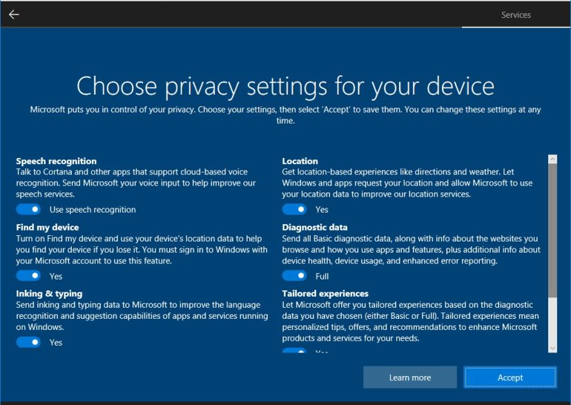 Privacy settings using Windows 10 setup (single screen)