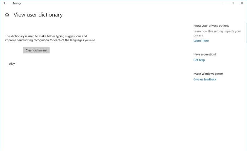 User dictionary settings