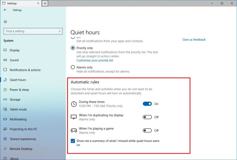 Quiet hours automatic rules settings