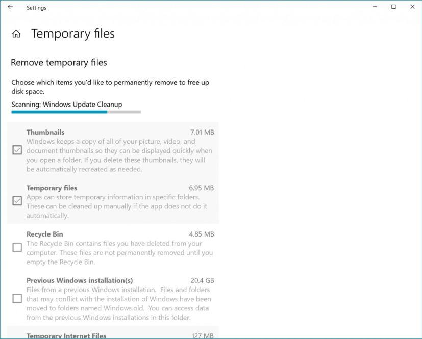 Temporary files settings
