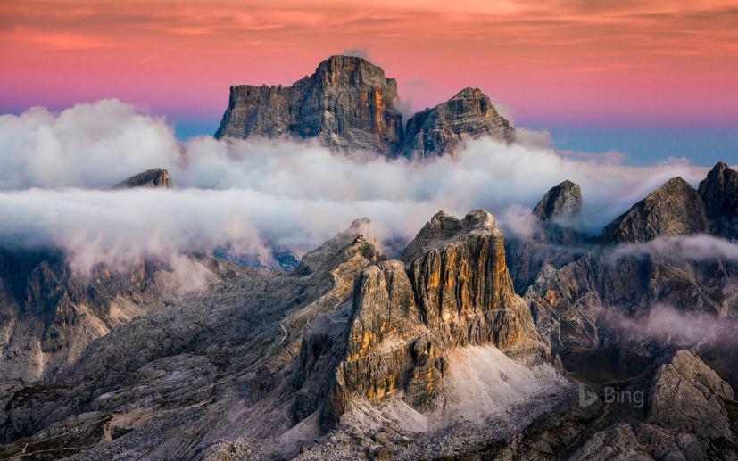 Averau and Monte Pelmo seen from Lagazuoi mountain near Cortina d'Ampezzo, Italy