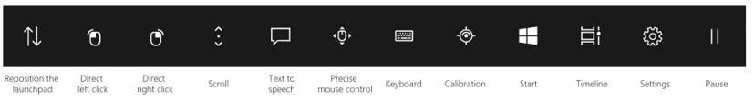 Eye Control launchpad on Windows 10
