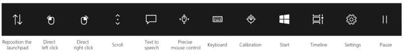 Eye Control launchpad on Windows 10
