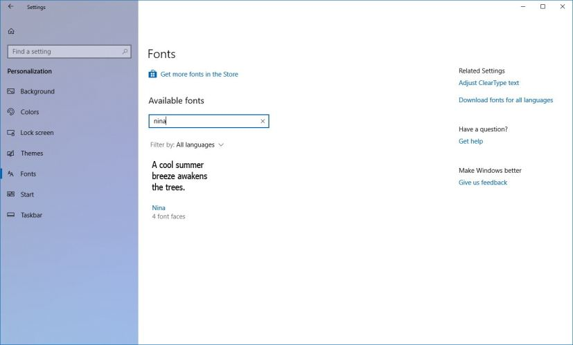 Font search on Windows 10