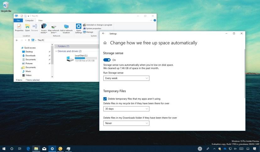 Storage sense schedule on Windows 10