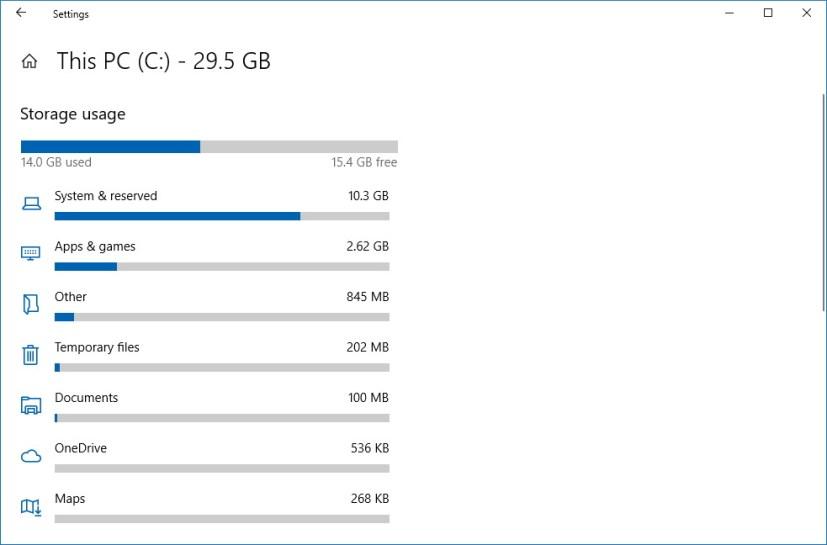 Storage usage settings on Windows 10