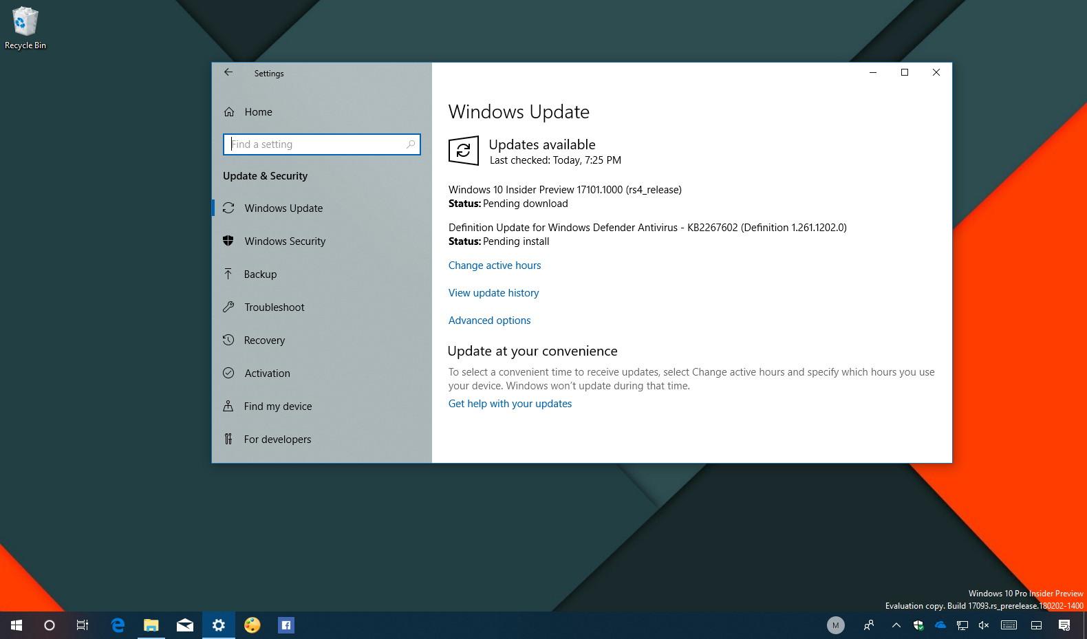 Windows 10 build 17101