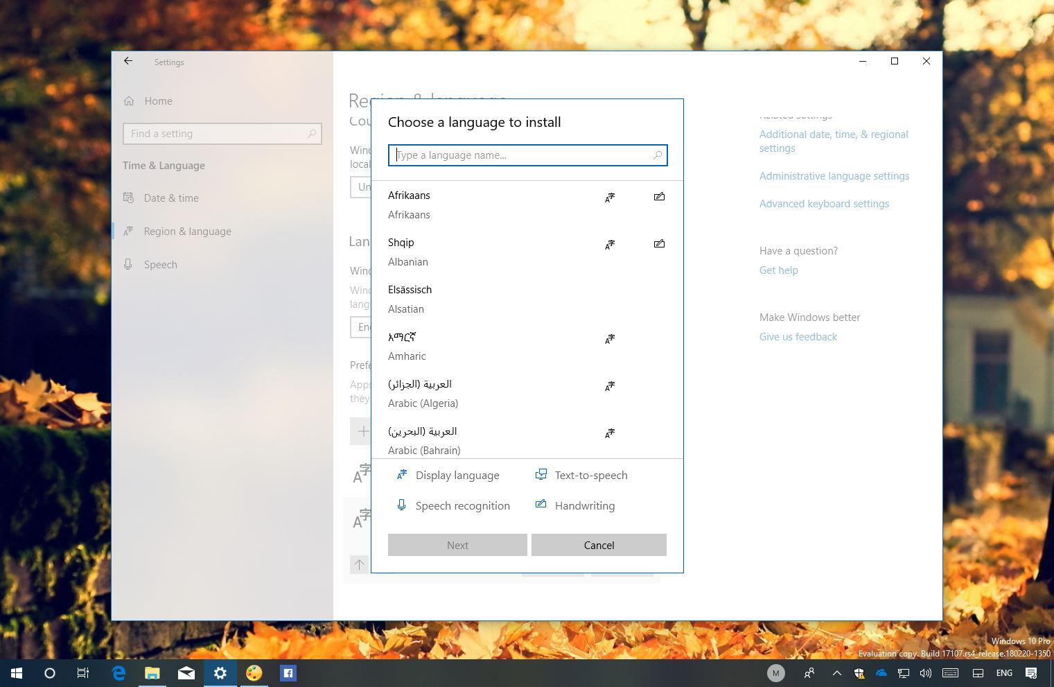 Adding a new language on WIndows 10