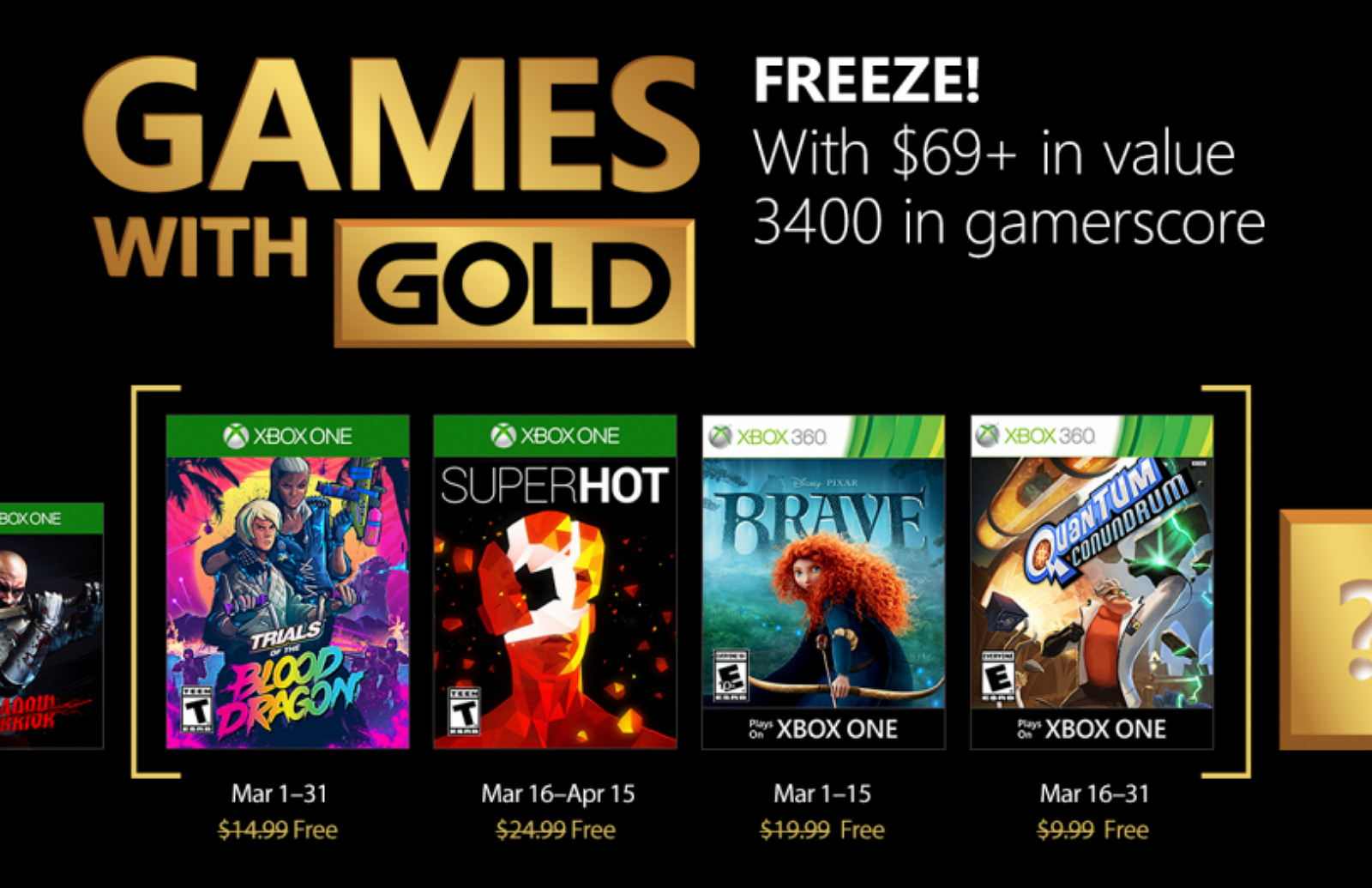 Xbox Games with Gold for March 2018