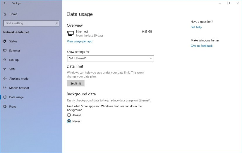 Data usage settings on Windows 10 version 1803