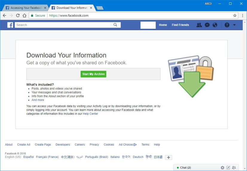 Download your information Facebook page