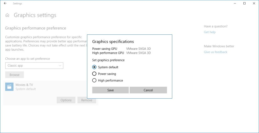 Graphics settings on Windows 10 Spring Creators Update