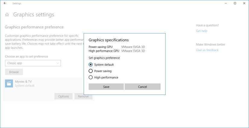 Graphics settings on Windows 10 Spring Creators Update