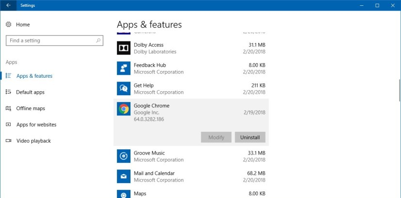 Uninstall apps on Windows 10 settings