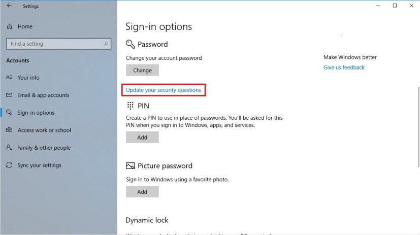 Windows 10 (version 1803) Sign-in Options