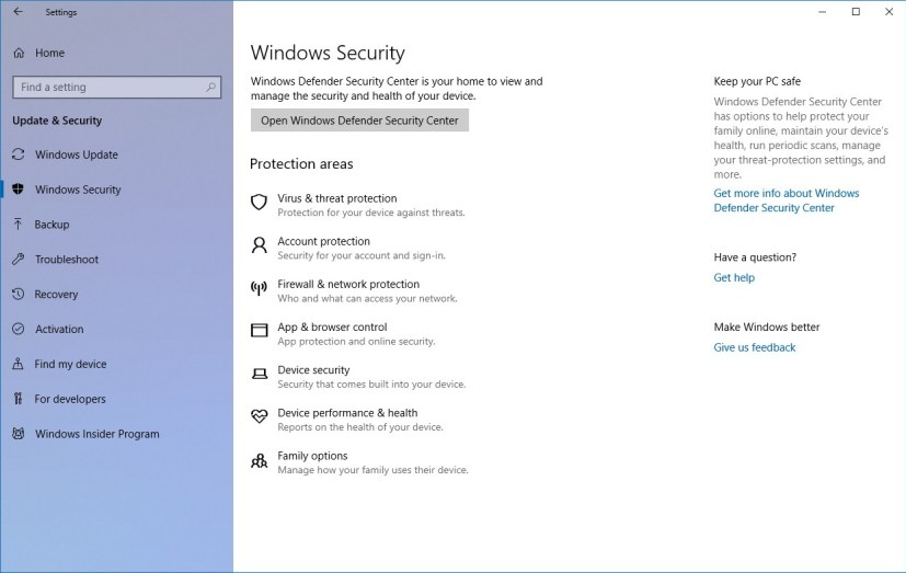 Windows Security settings on Windows 10 Spring Creators update