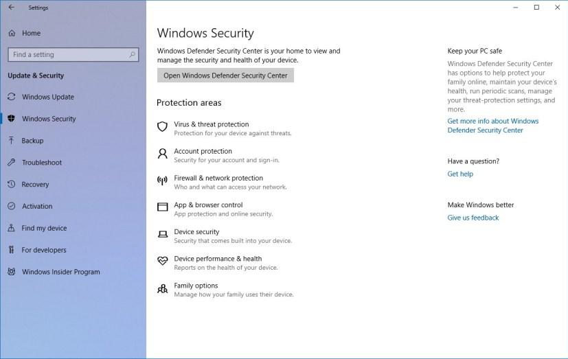 Windows Security settings on Windows 10 Spring Creators update