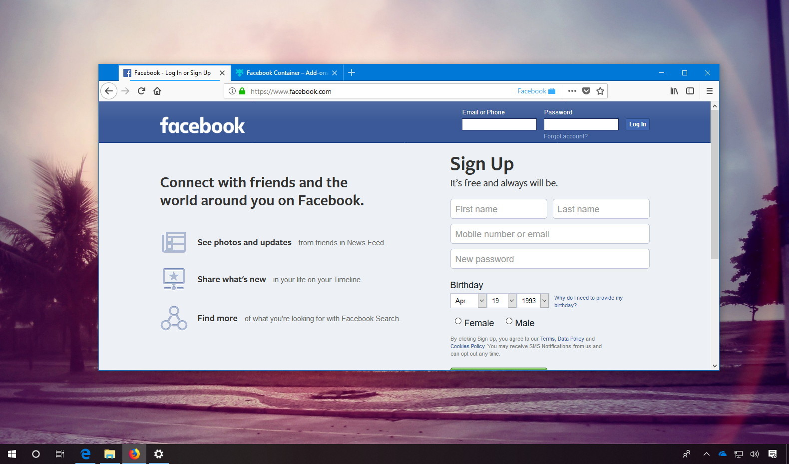 Firefox's Facebook Container extension blocks online tracking