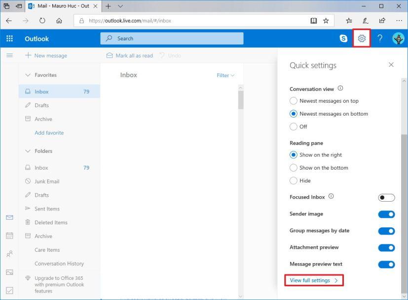 Outlook settings menu in the web