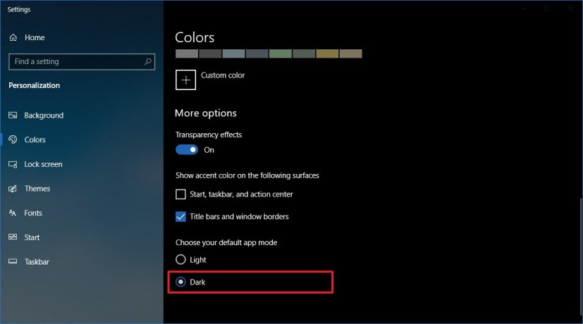 Windows 10 Colors settings dark theme option