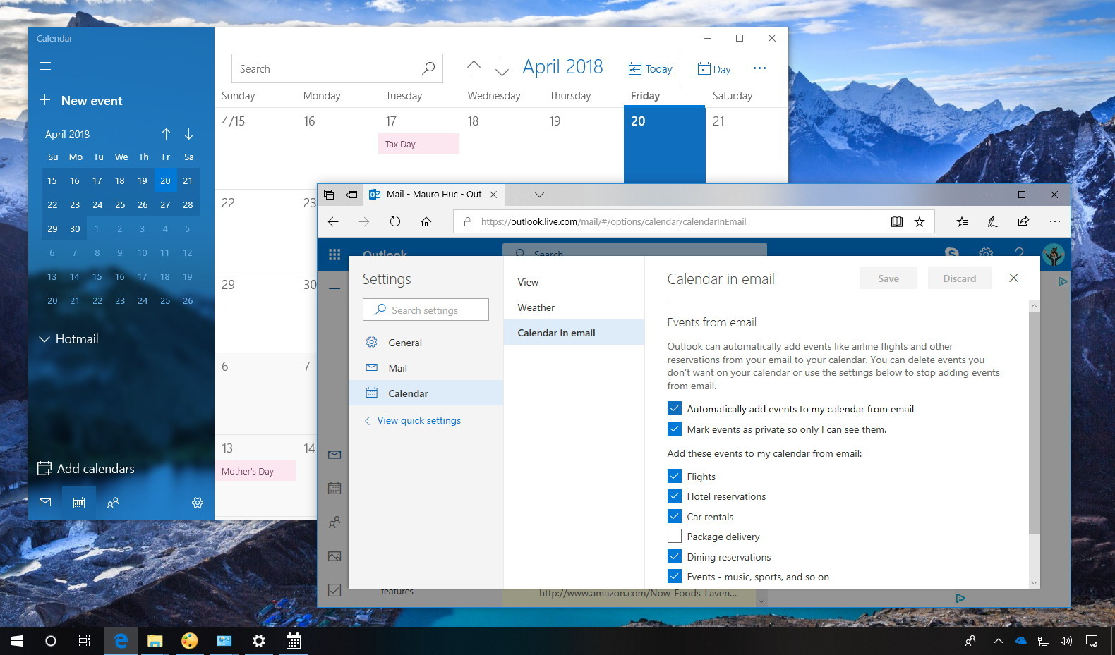 Disable Outlook calendar events from emails