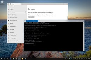 Windows 10 Settings and Command Prompt with DISM command to expend uninstall window