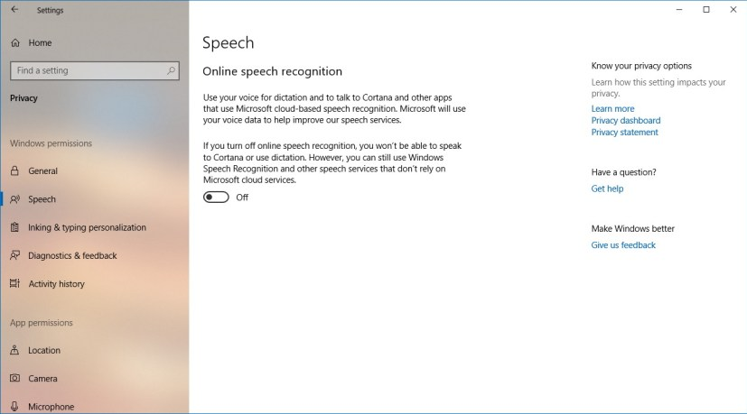 إعدادات خصوصية الكلام في WIndows 10
