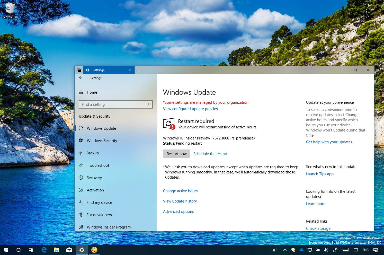 Windows 10 build 17672 desktop with Settings app