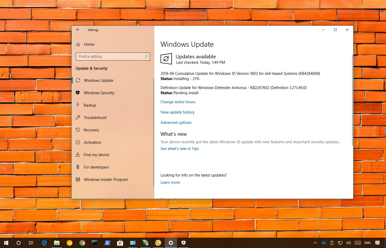 KB4294848 update for Windows 10 version 1803
