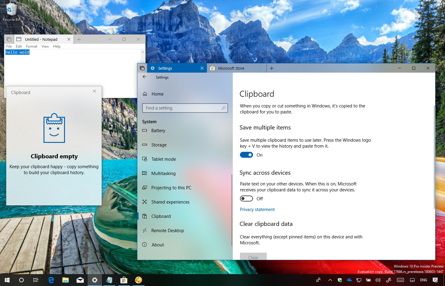 Clear clipboard history on Windows 10 version 1809