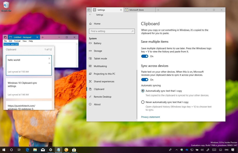 Clipboard sync on Windows 10 Redstone 5
