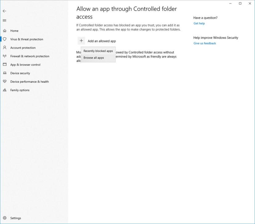 Controlled folder access settings on Windows 10 build 17704