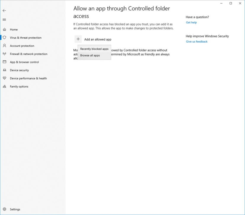 Controlled folder access settings on Windows 10 build 17704
